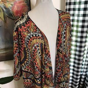 LuLaRoe Sweaters - LuLaRoe Shirley Kimono Sheer Boho Print Medium 8Y